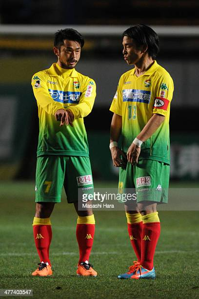 Yuto Sato of JEF United Chiba speaks to his teammate during the JLeague second division match between JEF United Chiba and Fagiano Okayama at Fukuda...