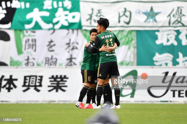 Yuto SUZUKI of Matsumoto Yamaga celebrates scoring his side's first goal during the J.League Meiji Yasuda J2 match between Matsumoto Yamaga and...