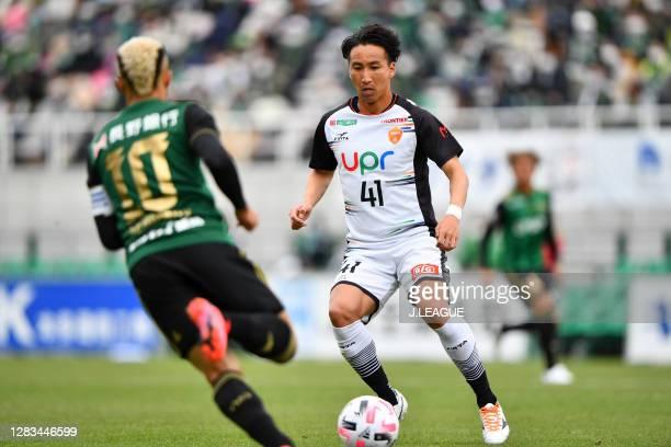 Yuto TAKEOKA of Renofa Yamaguchi in action during the J.League Meiji Yasuda J2 match between Matsumoto Yamaga and Renofa Yamaguchi at Sunpro Alwin on...
