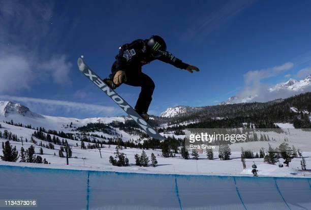 Yuto Totsuka of Japan competes in the Men's Snowboard Halfpipe Qualifiers at the 2019 US Grand Prix at Mammoth Mountain on March 07 2019 in Mammoth...