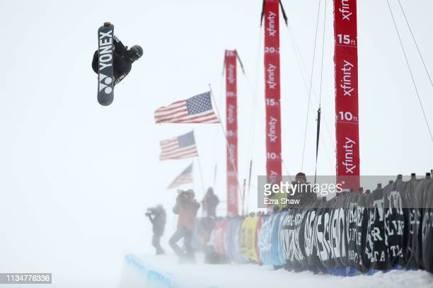 Yuto Totsuka of Japan competes in the Snowboard Halfpipe Finals at the 2019 US Grand Prix at Mammoth Mountain on March 09 2019 in Mammoth California...