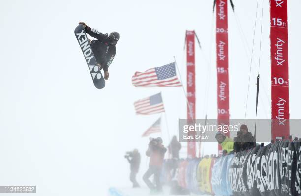 Yuto Totsuka of Japan competes in the Snowboard Halfpipe Finals at the 2019 US Grand Prix at Mammoth Mountain on March 09 2019 in Mammoth California