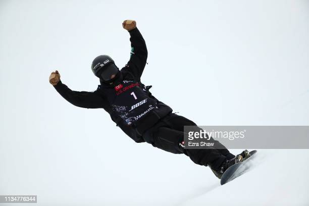 Yuto Totsuka of Japan reacts after his winning run in the Snowboard Halfpipe Finals at the 2019 US Grand Prix at Mammoth Mountain on March 09 2019 in...