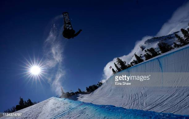 Yuto Totsuka of Japan takes a practice run before the start of the Snowboard Halfpipe Qualifiers at the 2019 US Grand Prix at Mammoth Mountain on...