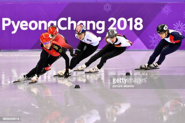 Yutong Han from China Marianne St Gelais from Canada Kim Alang from South Korea Anna Seidel from Germany and Veronique Pierron from France during the...