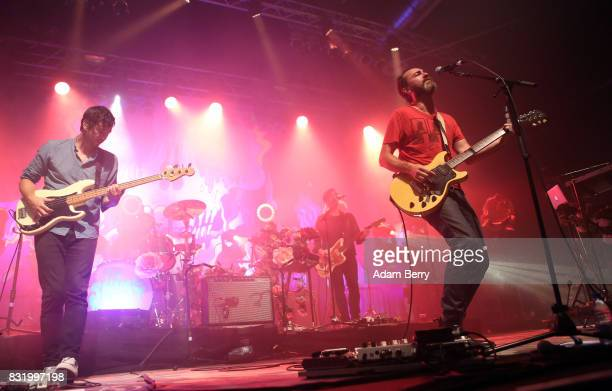 Yuuki Matthews and James Mercer of The Shins perform during a concert at Huxleys Neue Welt on August 15 2017 in Berlin Germany