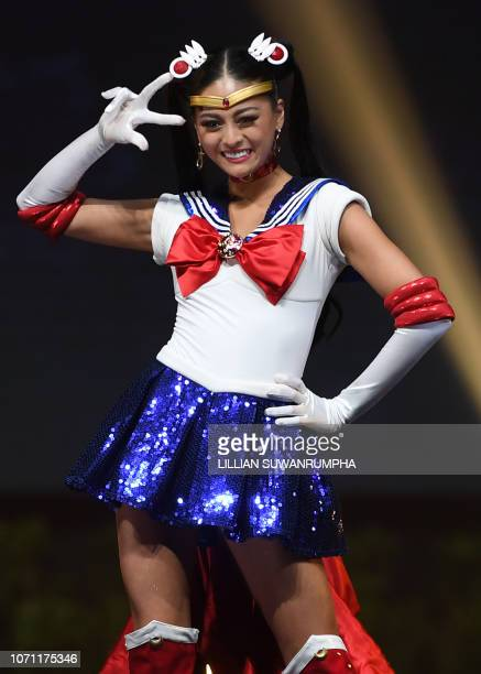 Yuumi Kato Miss Japan 2018 walks on stage during the 2018 Miss Universe national costume presentation in Chonburi province on December 10 2018