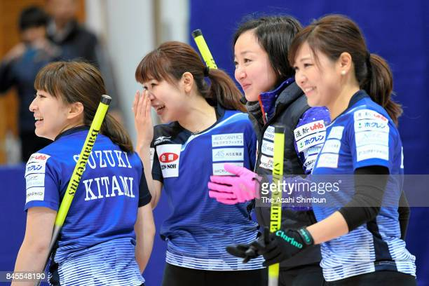 Yuumi Suzuki, Chinami Yoshida, Satsuki Fujisawa and Yurika Yoshida of LS Kitami celebrate after Game four of the Japan Women's Curling Olympic...