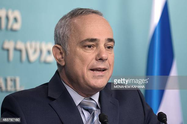Yuval Steinitz the Israeli Minister of National Infrastructures Energy and Water Resources talks to the press at the prime minister's office in...