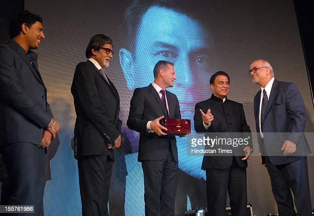Yuvraj singh, Amitabh Bachchan, Kapil Dev, Patrick Hoffman Sunil Gavaskar and Sunder Chainani attend an event organised by Ulysse Nardin to honour...