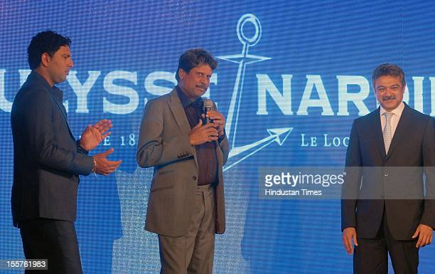 Yuvraj Singh and Kapil Dev attend an event organised by Ulysse Nardin to honour Sunil Gavaskar at Taj Mahal hotel, Colaba on November 3, 2012 in...