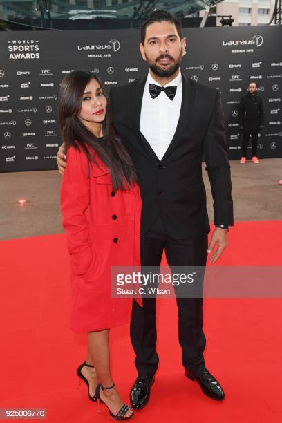 Yuvraj Singh attends the 2018 Laureus World Sports Awards at Salle des Etoiles Sporting MonteCarlo on February 27 2018 in Monaco Monaco