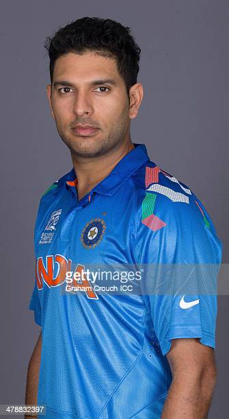 Yuvraj Singh of India at the headshot session at the Pan Pacific Hotel Dhaka in the lead up to the ICC World Twenty20 Bangladesh 2014 on March 15...