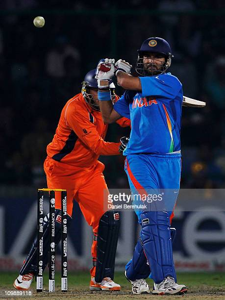 Yuvraj Singh of India bats during the 2011 ICC Cricket World Cup Group B match between India and the Netherlands at Feroz Shah Kotla stadium on March...