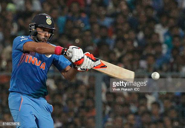Yuvraj Singh of India bats during the ICC World Twenty20 India 2016 match between Pakistan and India at Eden Gardens on March 19 2016 in Kolkata...