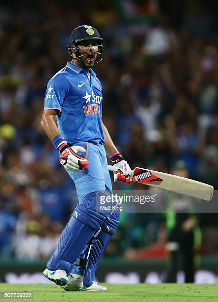 Yuvraj Singh of India celebrates victory on the last ball of the match during the International Twenty20 match between Australia and India at Sydney...