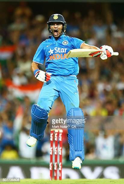 Yuvraj Singh of India celebrates winning the International Twenty20 match between Australia and India at Sydney Cricket Ground on January 31 2016 in...
