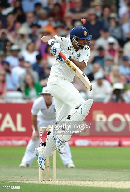 Yuvraj Singh of India gets caught by Alistair Cook of England of the bowling of Tim Bresnan during the second npower Test match between England and...