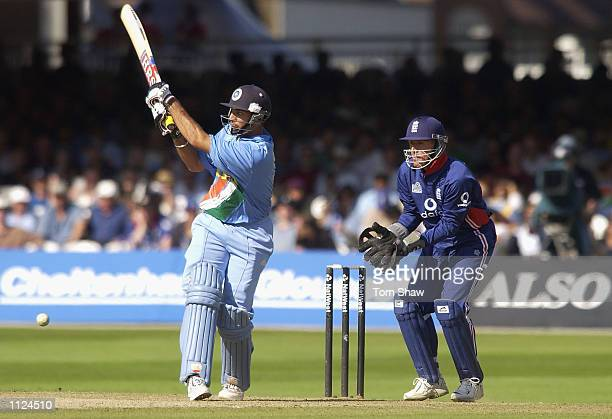 Yuvraj Singh of India hits a boundery during the match between England and India in the NatWest One Day Series Final at Lord's in London England on...