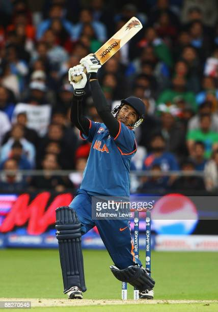 Yuvraj Singh of India hits a six during the coin toss during the ICC World Twenty20 match between India and Bangladesh at Trent Bridge on June 6 2009...