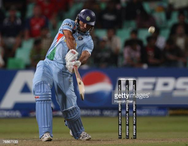 Yuvraj Singh of India hits a six of Andrew Flintoff of England during the final over of the innings during the ICC Twenty20 Cricket World...