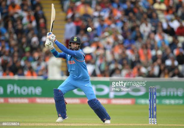 Yuvraj Singh of India hits out during the ICC Champions Trophy match between India and Pakistan at Edgbaston cricket ground on June 4 2017 in...