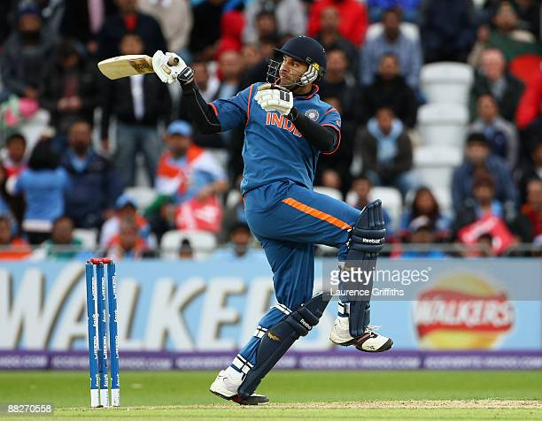 Yuvraj Singh of India hits out during the ICC Twenty20 World Cup match between India and Bangladesh at Trent Bridge on June 6 2009 in Nottingham...
