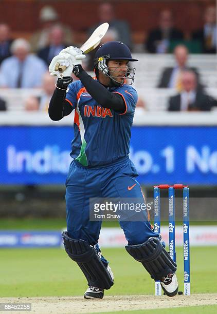 Yuvraj Singh of India hits out during the ICC World Twenty20 Super Eights match between India and West Indies at Lord's on June 12 2009 in London...