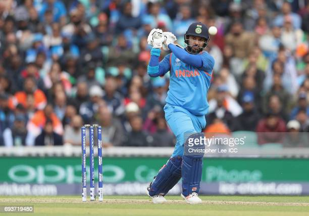 Yuvraj Singh of India in action during the ICC Champions Trophy Group B match between India and Sri Lanka at The Kia Oval on June 8 2017 in London...