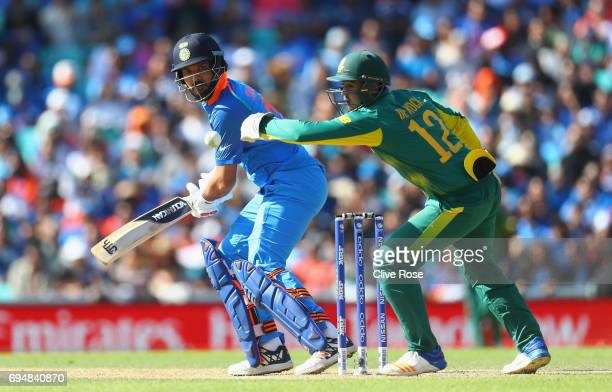 Yuvraj Singh of India in action during the ICC Champions trophy cricket match between India and South Africa at The Oval in London on June 11 2017