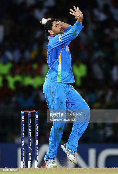 Yuvraj Singh of India in action during the ICC World Twenty20 2012 Super Eights Group 2 match between Pakistan and India at R. Premadasa Stadium on...