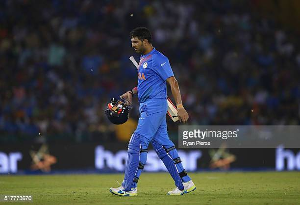 Yuvraj Singh of India looks dejected after being dismissed by James Faulkner of Australia during the ICC WT20 India Group 2 match between India and...