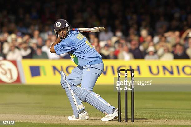Yuvraj Singh of India on his way to his fifty during the match between England and India in the NatWest One Day Series at Lord's in London England on...