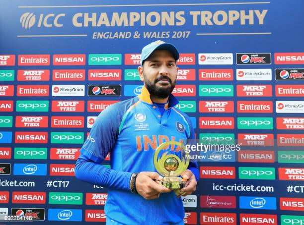 Yuvraj Singh of India pictured with the 'Player of the Match' award after the ICC Champions Trophy match between India and Pakistan at Edgbaston on...