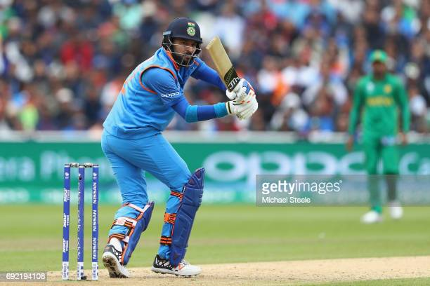 Yuvraj Singh of India pulls to the legside during the ICC Champions Trophy match between India and Pakistan at Edgbaston on June 4 2017 in Birmingham...