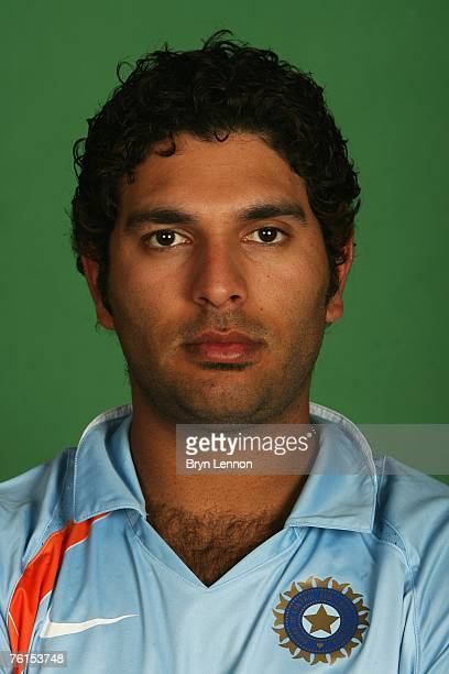 Yuvraj Singh poses during a photo call at the Marriott Hotel on August 17 2007 in Northampton England