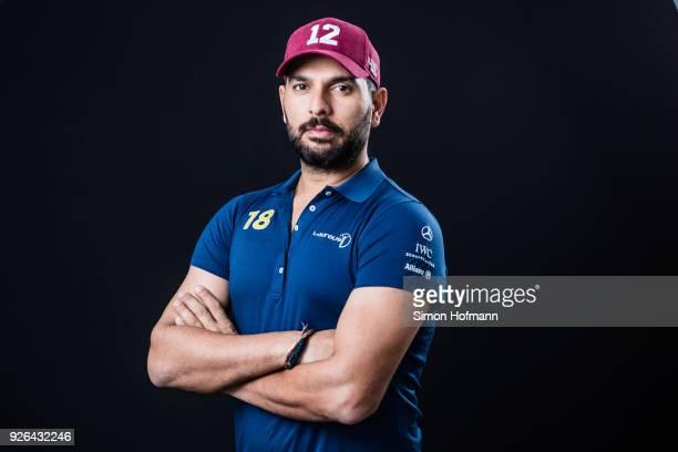 Yuvraj Singh poses prior to the 2018 Laureus World Sports Awards at Le Meridien Beach Plaza Hotel on February 26 2018 in Monaco Monaco