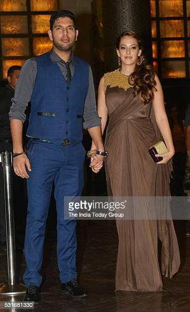 Yuvraj Singh with his wife Hazel Keech at Preity Zinta and Gene Goodenoughs wedding reception ceremony at St Regis Hotel in Mumbai