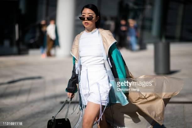 Yuwei Zhangzou is seen outside Sportmax on Day 3 Milan Fashion Week Autumn/Winter 2019/20 on February 22 2019 in Milan Italy