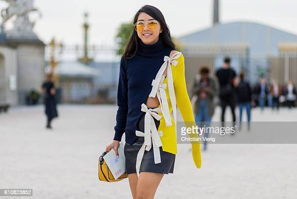 Yuwei Zhangzou outside Jacquemus on September 27 2016 in Paris France