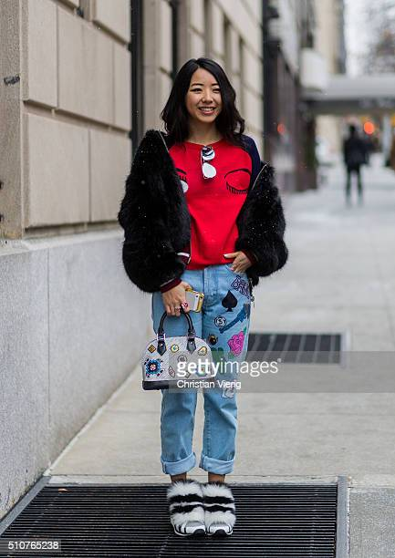Yuwei Zhangzou seen outside Tommy Hilfiger during New York Fashion Week Women's Fall/Winter 2016 on February 15 2016 in New York City