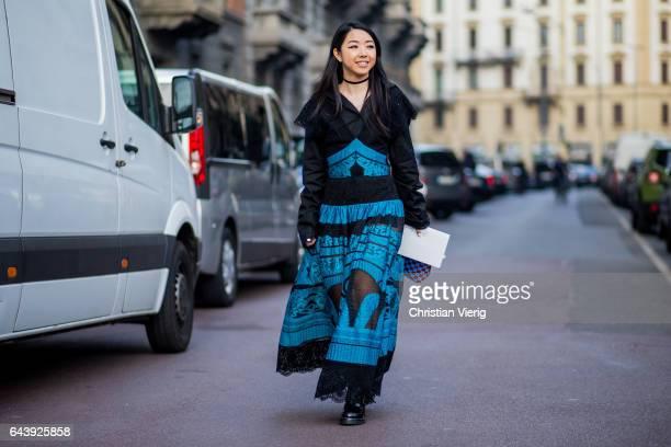 Yuwei Zhangzou wearing a dress outside Alberta Ferretti on February 22 2017 in Milan Italy