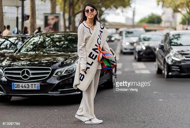 Yuwei Zhangzou wearing Balenciaga outside Balenciaga on October 2 2016 in Paris France