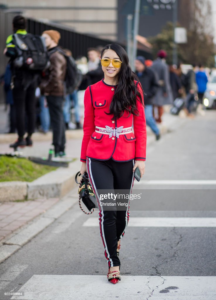 Street Style: February 21 - Milan Fashion Week Fall/Winter 2018/19 : News Photo