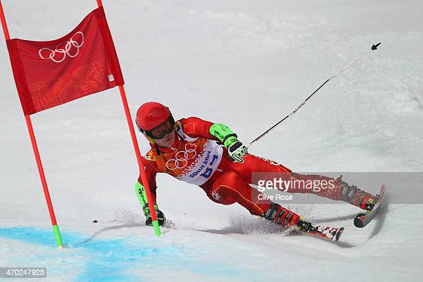 Yuxin Zhang of China in action during the Alpine Skiing Men's Giant Slalom on day 12 of the Sochi 2014 Winter Olympics at Rosa Khutor Alpine Center...