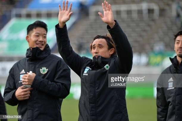 Yuya HASHIUCHI of Matsumoto Yamaga applauds fans after the J.League Meiji Yasuda J2 match between Matsumoto Yamaga and Renofa Yamaguchi at Sunpro...