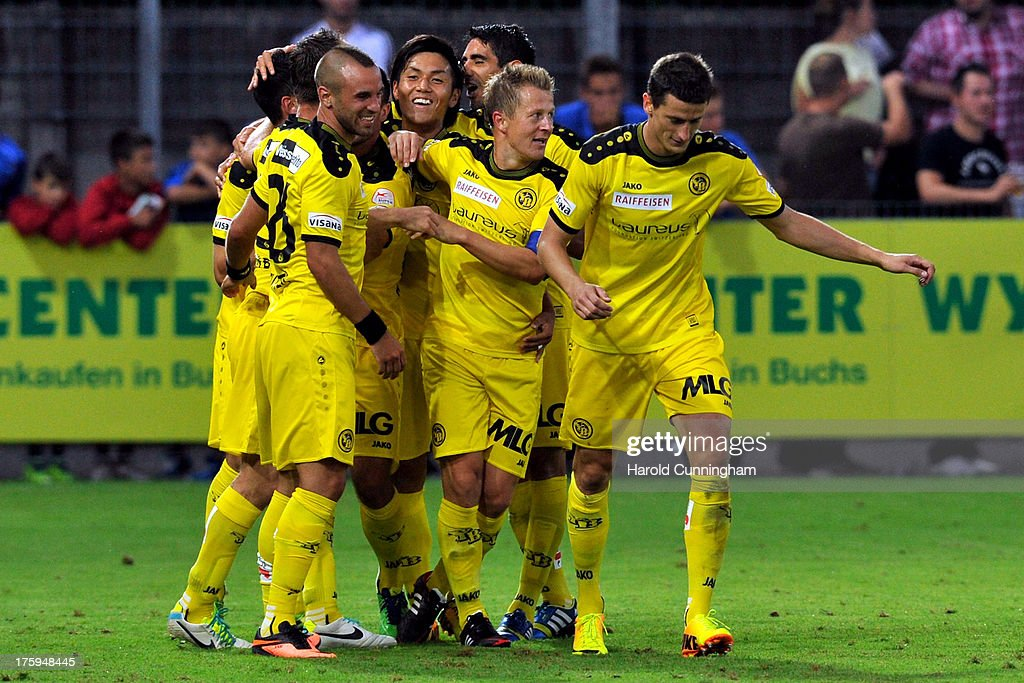 Yuya Kubo (C) celebrates with his team mates the second goal of Moreno Costanzo of BSC Young Boys during the Swiss Super League match between FC Aarau v BSC Young Boys at Brugglifeld on August 10, 2013 in Aarau, Switzerland.