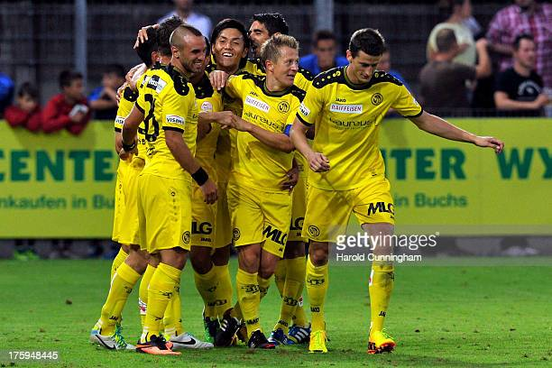 Yuya Kubo celebrates with his team mates the second goal of Moreno Costanzo of BSC Young Boys during the Swiss Super League match between FC Aarau v...