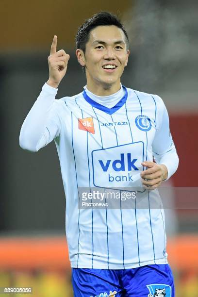Yuya Kubo forward of KAA Gent celebrates scoring a goal during the Jupiler Pro League match between KAA Gent and KV Kortrijk at the Ghelamco Arena on...