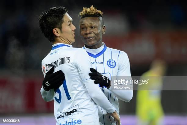 Yuya Kubo forward of KAA Gent celebrates scoring a goal with Samuel Kalu forward of KAA Gent during the Jupiler Pro League match between KAA Gent and...
